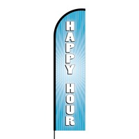 Happy Hour Flex Banner Flag - 16ft (Single Sided)