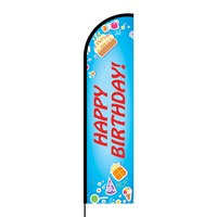 Happy Birthday Flex Banner Flag - 16ft (Single Sided)