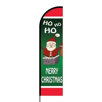 Merry Christmas Flex Banner Flag - 16ft (Single Sided)