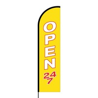 Open 24/7 Flex Banner Flag - 16ft (Single Sided)