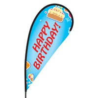 Happy Birthday Flex Blade Flag - 09' Single Sided